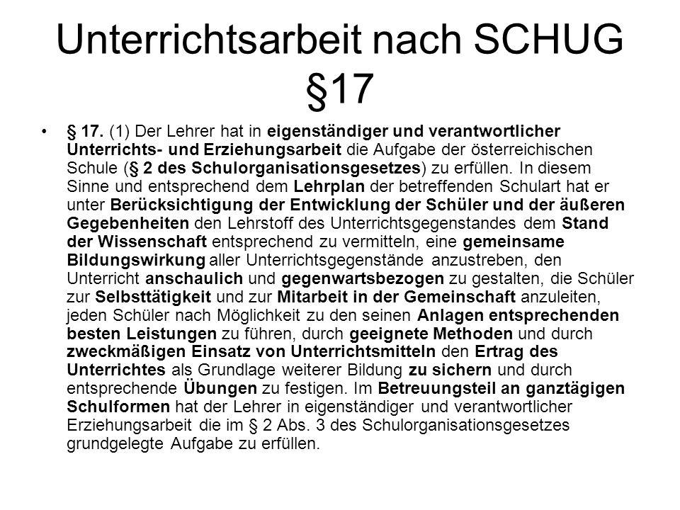 Unterrichtsarbeit nach SCHUG §17 § 17.