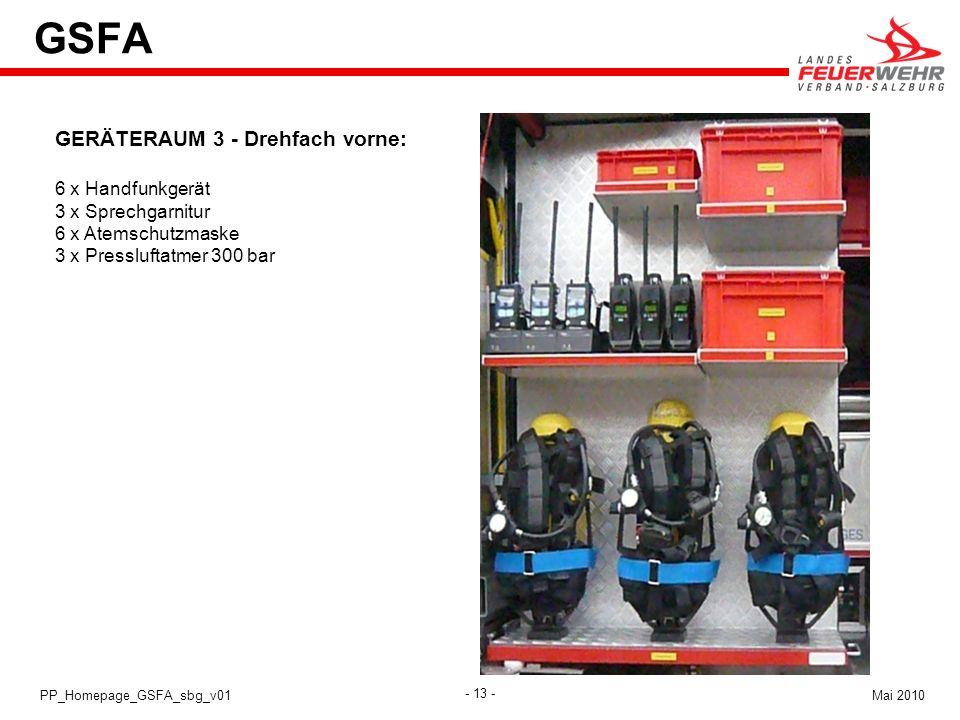 - 13 - Mai 2010PP_Homepage_GSFA_sbg_v01 GSFA GERÄTERAUM 3 - Drehfach vorne: 6 x Handfunkgerät 3 x Sprechgarnitur 6 x Atemschutzmaske 3 x Pressluftatme