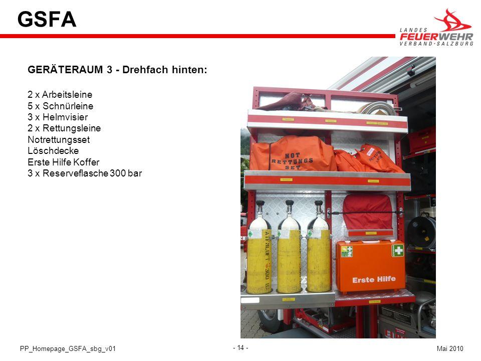- 14 - Mai 2010PP_Homepage_GSFA_sbg_v01 GSFA GERÄTERAUM 3 - Drehfach hinten: 2 x Arbeitsleine 5 x Schnürleine 3 x Helmvisier 2 x Rettungsleine Notrett