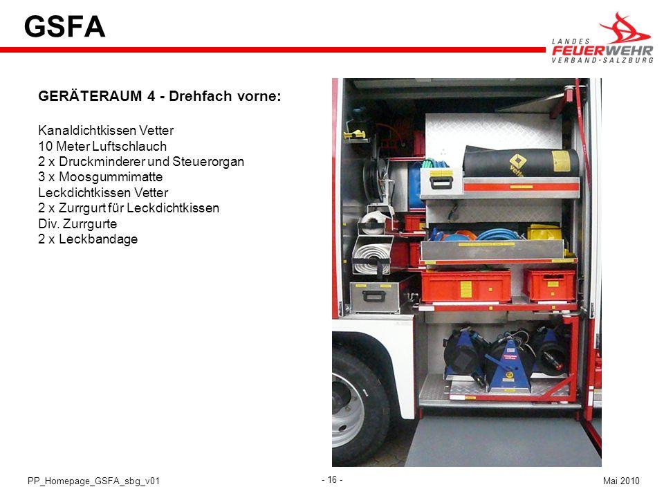 - 16 - Mai 2010PP_Homepage_GSFA_sbg_v01 GSFA GERÄTERAUM 4 - Drehfach vorne: Kanaldichtkissen Vetter 10 Meter Luftschlauch 2 x Druckminderer und Steuer