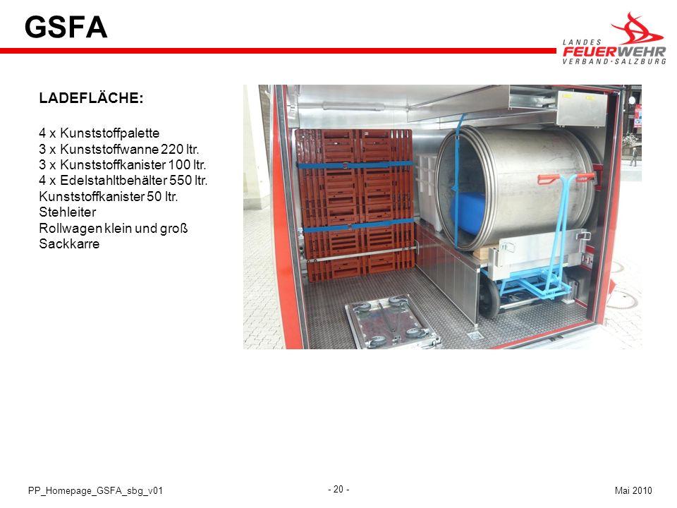 - 20 - Mai 2010PP_Homepage_GSFA_sbg_v01 GSFA LADEFLÄCHE: 4 x Kunststoffpalette 3 x Kunststoffwanne 220 ltr. 3 x Kunststoffkanister 100 ltr. 4 x Edelst