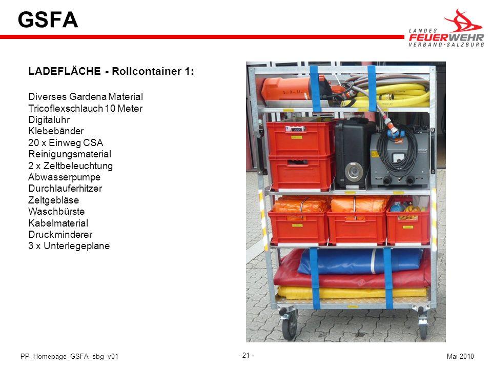 - 21 - Mai 2010PP_Homepage_GSFA_sbg_v01 GSFA LADEFLÄCHE - Rollcontainer 1: Diverses Gardena Material Tricoflexschlauch 10 Meter Digitaluhr Klebebänder