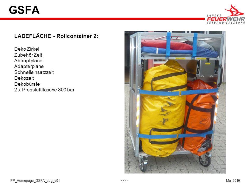 - 22 - Mai 2010PP_Homepage_GSFA_sbg_v01 GSFA LADEFLÄCHE - Rollcontainer 2: Deko Zirkel Zubehör Zelt Abtropfplane Adapterplane Schnelleinsatzzelt Dekoz