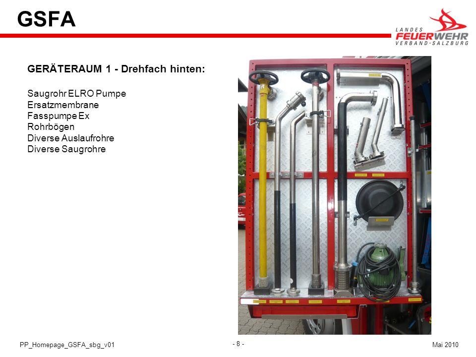 - 8 - Mai 2010PP_Homepage_GSFA_sbg_v01 GSFA GERÄTERAUM 1 - Drehfach hinten: Saugrohr ELRO Pumpe Ersatzmembrane Fasspumpe Ex Rohrbögen Diverse Auslaufr