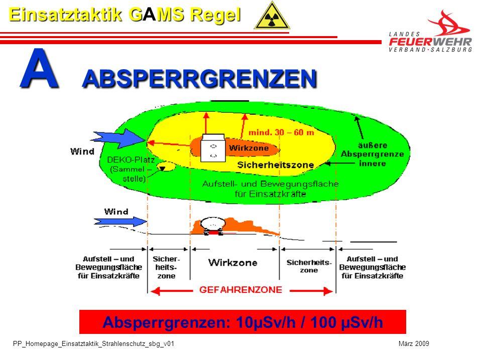 PP_Homepage_Einsatztaktik_Strahlenschutz_sbg_v01 März 2009 Einsatztaktik GAMS Regel A ABSPERRGRENZEN A ABSPERRGRENZEN Absperrgrenzen: 10µSv/h / 100 µSv/h