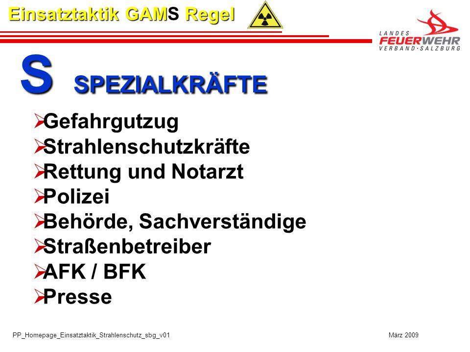 PP_Homepage_Einsatztaktik_Strahlenschutz_sbg_v01 März 2009 Einsatztaktik GAMS Regel S SPEZIALKRÄFTE S SPEZIALKRÄFTE Gefahrgutzug Strahlenschutzkräfte