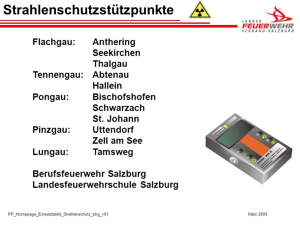 PP_Homepage_Einsatztaktik_Strahlenschutz_sbg_v01 März 2009 Strahlenschutzstützpunkte Flachgau:Anthering Seekirchen Thalgau Tennengau:Abtenau Hallein Pongau:Bischofshofen Schwarzach St.