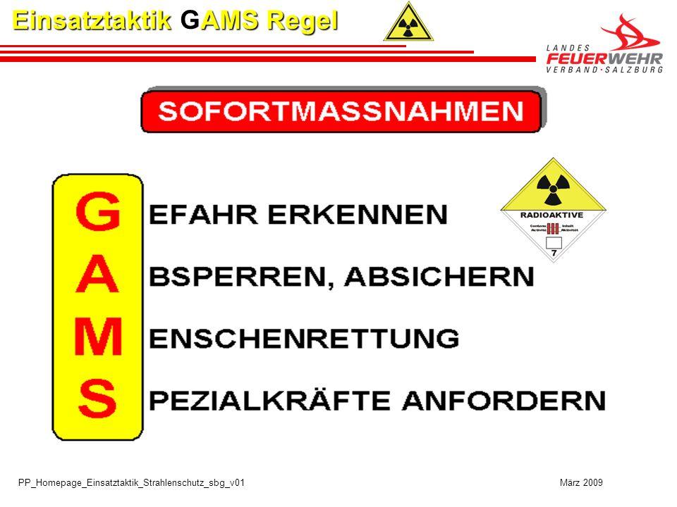 PP_Homepage_Einsatztaktik_Strahlenschutz_sbg_v01 März 2009 G GEFAHR ERKENNEN G GEFAHR ERKENNEN Einsatztaktik GAMS Regel