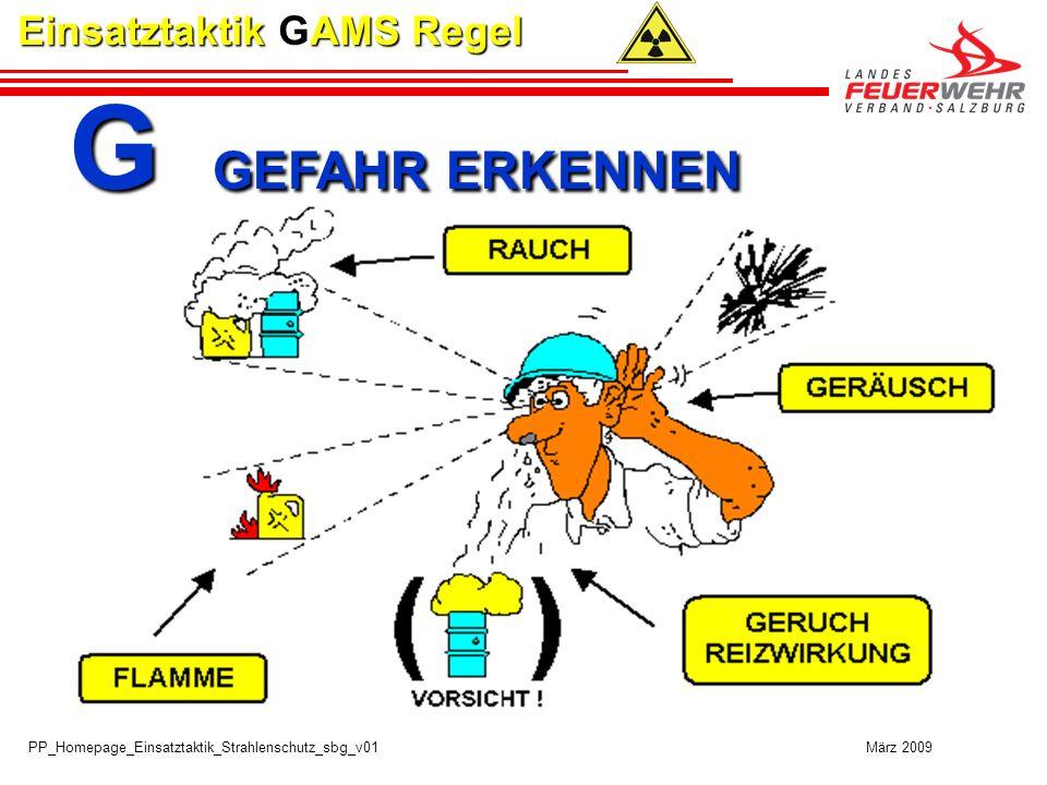 PP_Homepage_Einsatztaktik_Strahlenschutz_sbg_v01 März 2009 Einsatztaktik GAMS Regel Sofortinformation GG-Blattler Gefahrzettel Warntafeln Gefahrnummer ADR / RID / ADN Klassen Kennzeichnung von Gasflaschen Kennzeichnung von Rohrleitungen