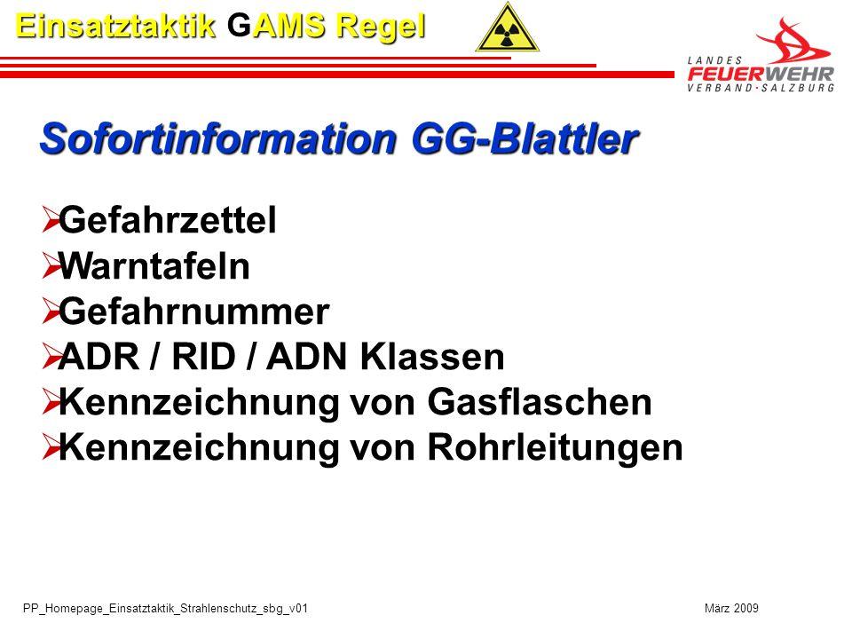 PP_Homepage_Einsatztaktik_Strahlenschutz_sbg_v01 März 2009 Einsatztaktik GAMS Regel Sofortinformation GG-Blattler Gefahrzettel Warntafeln Gefahrnummer