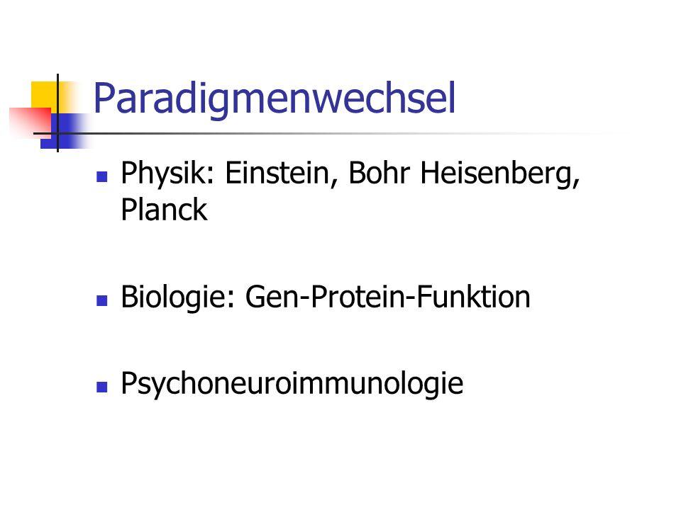 Paradigmenwechsel Physik: Einstein, Bohr Heisenberg, Planck Biologie: Gen-Protein-Funktion Psychoneuroimmunologie