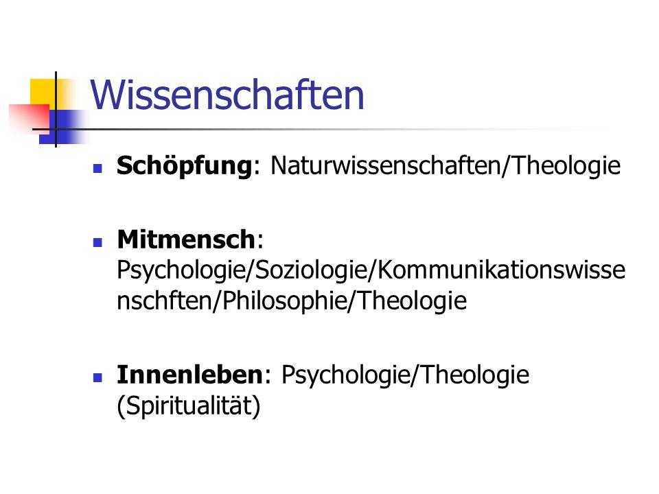 Wissenschaften Schöpfung: Naturwissenschaften/Theologie Mitmensch: Psychologie/Soziologie/Kommunikationswisse nschften/Philosophie/Theologie Innenlebe