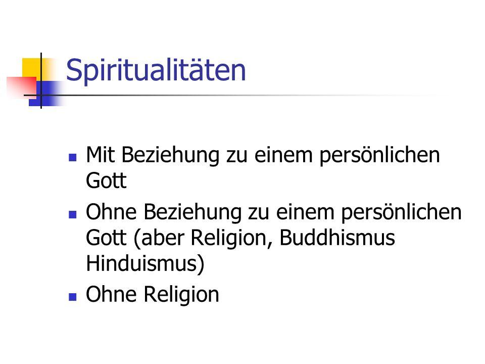 Spiritualitäten Mit Beziehung zu einem persönlichen Gott Ohne Beziehung zu einem persönlichen Gott (aber Religion, Buddhismus Hinduismus) Ohne Religio