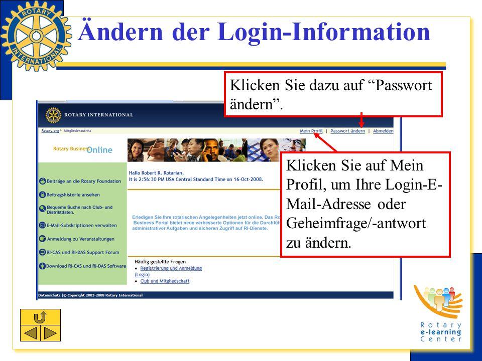 Ändern der Login-Information Klicken Sie dazu auf Passwort ändern.