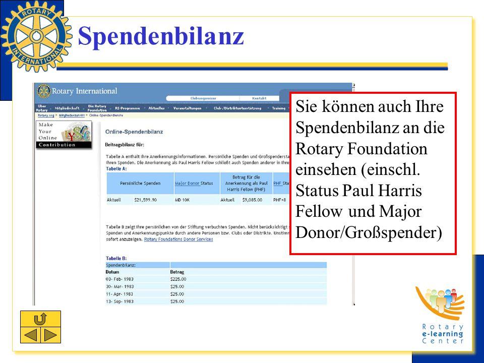 Spendenbilanz Sie können auch Ihre Spendenbilanz an die Rotary Foundation einsehen (einschl.