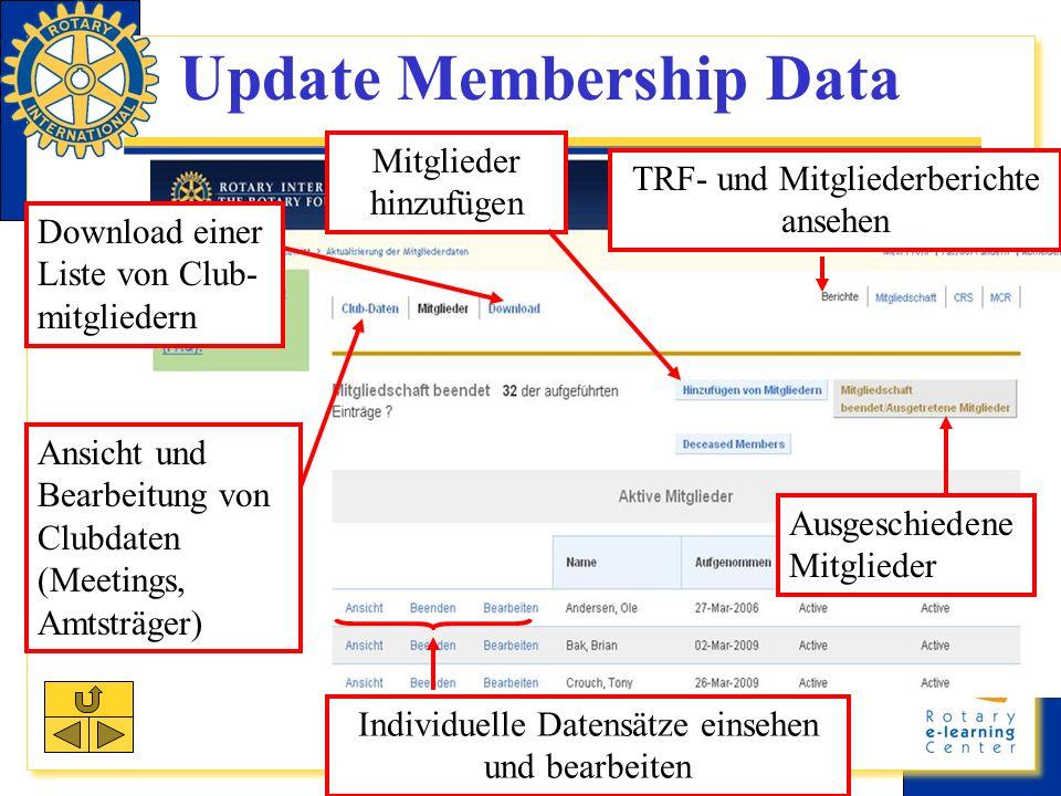 Update Membership Data Download einer Liste von Club- mitgliedern Ausgeschiedene Mitglieder Ansicht und Bearbeitung von Clubdaten (Meetings, Amtsträger) TRF- und Mitgliederberichte ansehen Mitglieder hinzufügen Individuelle Datensätze einsehen und bearbeiten