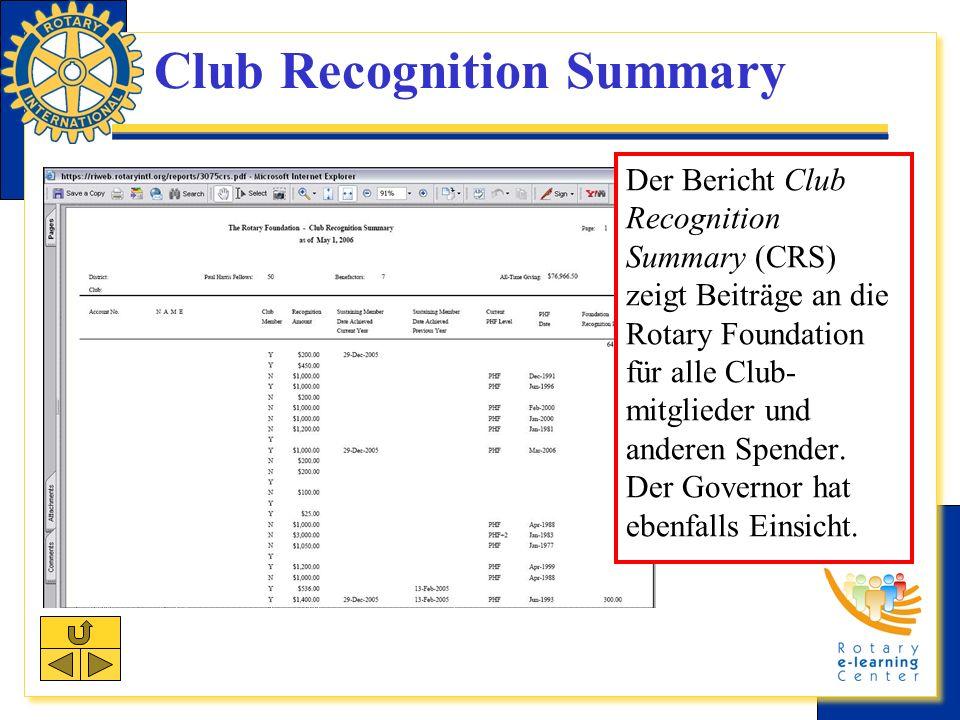 Club Recognition Summary Der Bericht Club Recognition Summary (CRS) zeigt Beiträge an die Rotary Foundation für alle Club- mitglieder und anderen Spender.