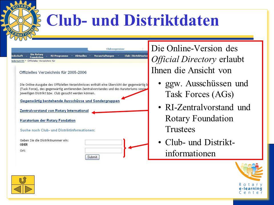 Club- und Distriktdaten Die Online-Version des Official Directory erlaubt Ihnen die Ansicht von ggw.