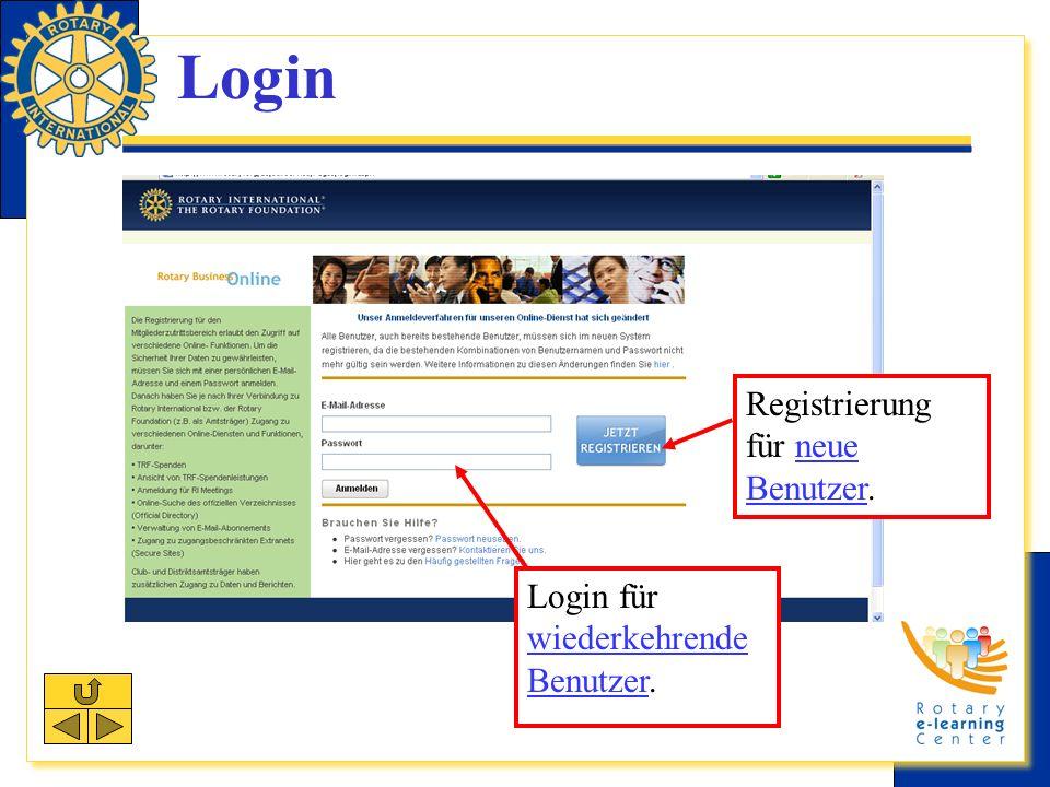 Login Registrierung für neue Benutzer.neue Benutzer Login für wiederkehrende Benutzer.