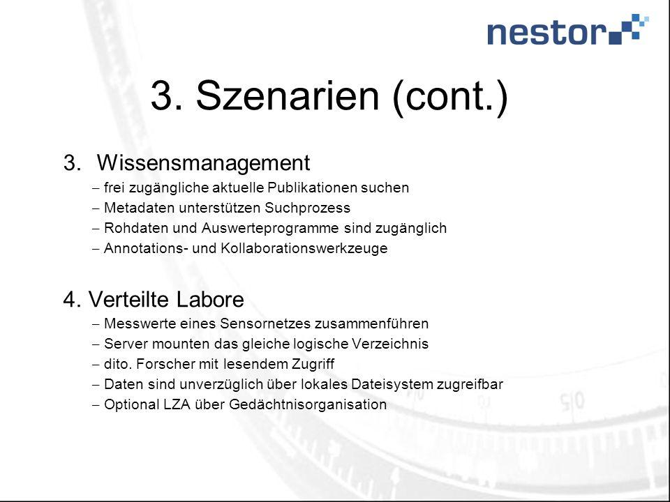3. Szenarien (cont.) 3.Wissensmanagement – frei zugängliche aktuelle Publikationen suchen – Metadaten unterstützen Suchprozess – Rohdaten und Auswerte