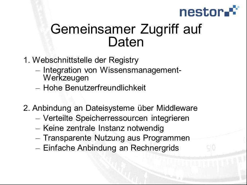 Gemeinsamer Zugriff auf Daten 1.Webschnittstelle der Registry – Integration von Wissensmanagement- Werkzeugen – Hohe Benutzerfreundlichkeit 2.Anbindun