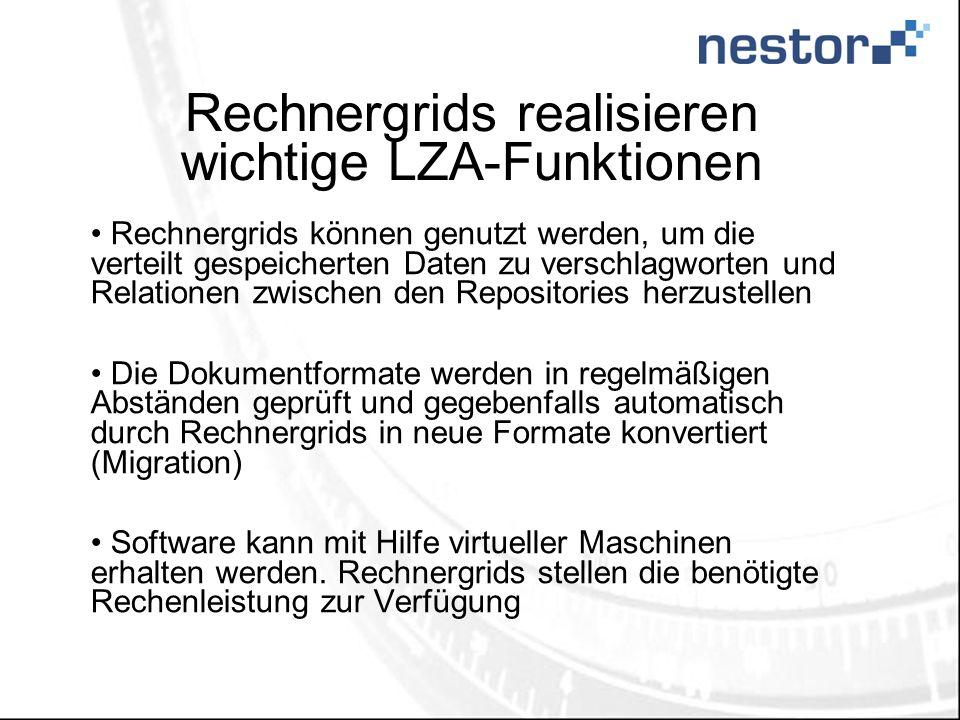 Rechnergrids realisieren wichtige LZA-Funktionen Rechnergrids können genutzt werden, um die verteilt gespeicherten Daten zu verschlagworten und Relati