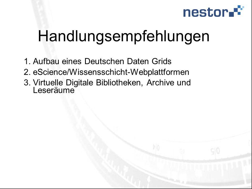 Handlungsempfehlungen 1.Aufbau eines Deutschen Daten Grids 2.eScience/Wissensschicht-Webplattformen 3.Virtuelle Digitale Bibliotheken, Archive und Les