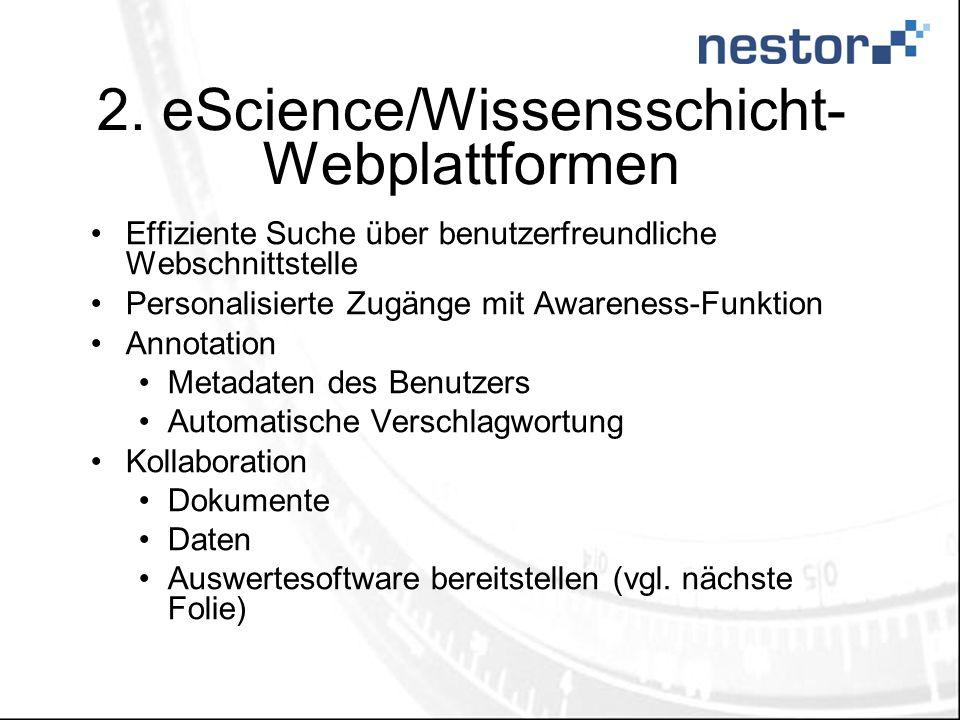 2. eScience/Wissensschicht- Webplattformen Effiziente Suche über benutzerfreundliche Webschnittstelle Personalisierte Zugänge mit Awareness-Funktion A