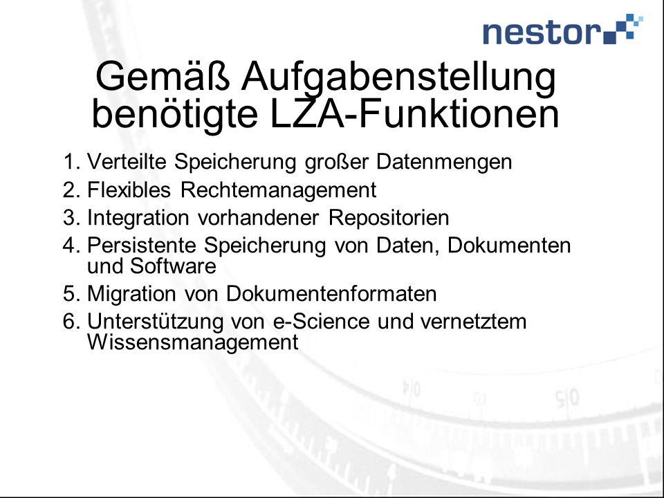 Gemäß Aufgabenstellung benötigte LZA-Funktionen 1.Verteilte Speicherung großer Datenmengen 2.Flexibles Rechtemanagement 3.Integration vorhandener Repositorien 4.Persistente Speicherung von Daten, Dokumenten und Software 5.Migration von Dokumentenformaten 6.Unterstützung von e-Science und vernetztem Wissensmanagement
