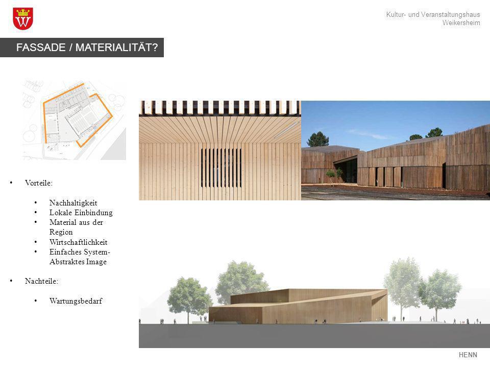 Kultur- und Veranstaltungshaus Weikersheim HENN FASSADE / MATERIALITÄT? Vorteile: Nachhaltigkeit Lokale Einbindung Material aus der Region Wirtschaftl