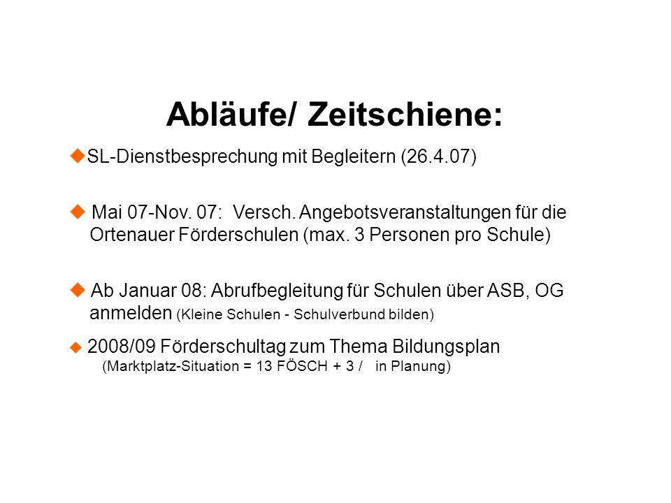 Abläufe/ Zeitschiene: uSL-Dienstbesprechung mit Begleitern (26.4.07) u Mai 07-Nov.