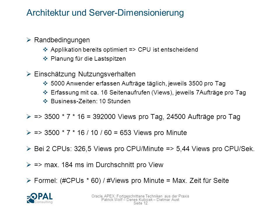 Seite 12 Oracle APEX: Fortgeschrittene Techniken aus der Praxis Patrick Wolf – Denes Kubicek – Dietmar Aust Architektur und Server-Dimensionierung Ran