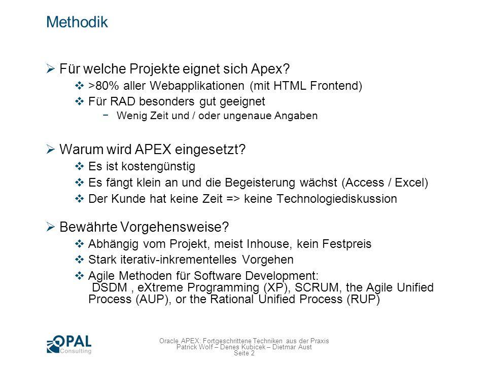 Seite 3 Oracle APEX: Fortgeschrittene Techniken aus der Praxis Patrick Wolf – Denes Kubicek – Dietmar Aust DSDM Dynamic Systems Development Method (DSDM) www.dsdm.org, seit 1994, erste agile Methode www.dsdm.org In Time und Budget Konzentration auf wesentliche Funktionen (80/20) Iterativ herausarbeiten Starke Involvierung der Fachabteilungen, kurze Feedback-Zyklen Timeboxing Lieferzyklen: 2-6 Wochen Jeder Zyklus wird nach MoSCoW priorisiert MoSCoW Priorisierung Must, Should, Could, Wont Nicht nur !!.