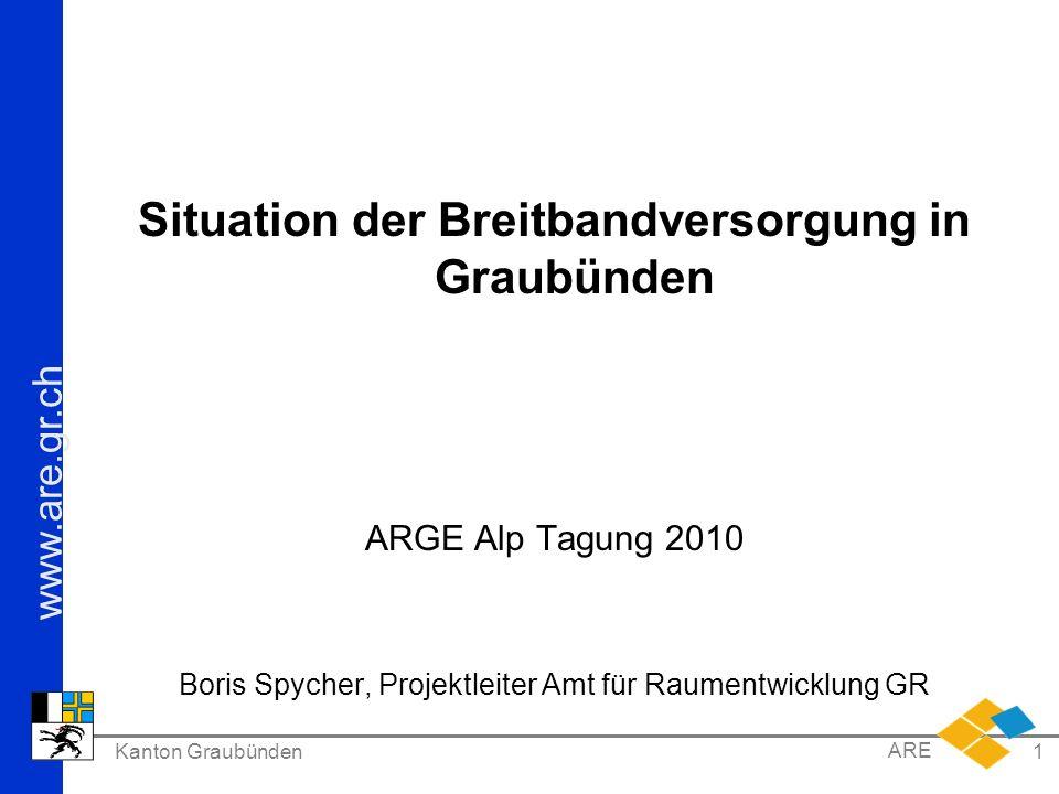 www.are.gr.ch Kanton Graubünden ARE 1 Situation der Breitbandversorgung in Graubünden ARGE Alp Tagung 2010 Boris Spycher, Projektleiter Amt für Raumentwicklung GR