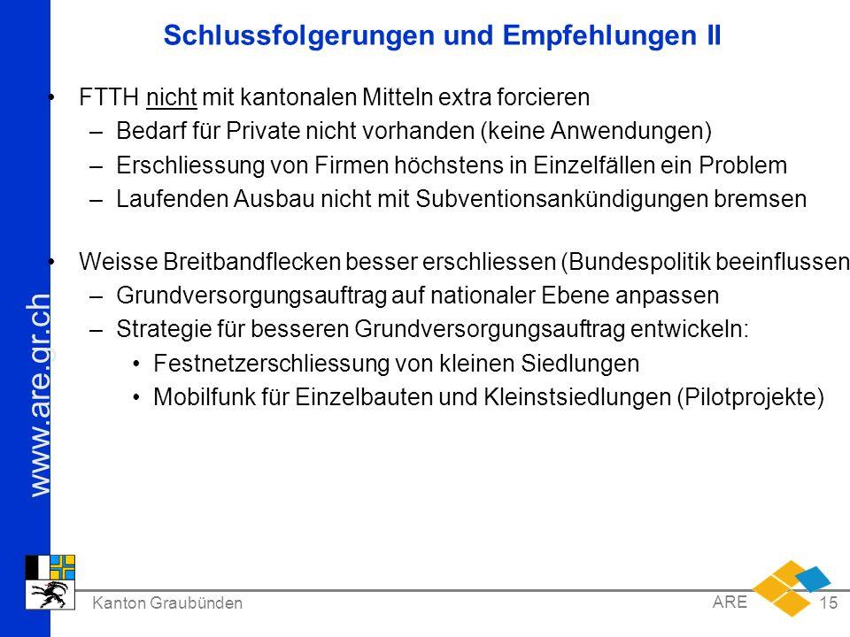 www.are.gr.ch Kanton Graubünden ARE 15 Schlussfolgerungen und Empfehlungen II FTTH nicht mit kantonalen Mitteln extra forcieren –Bedarf für Private ni