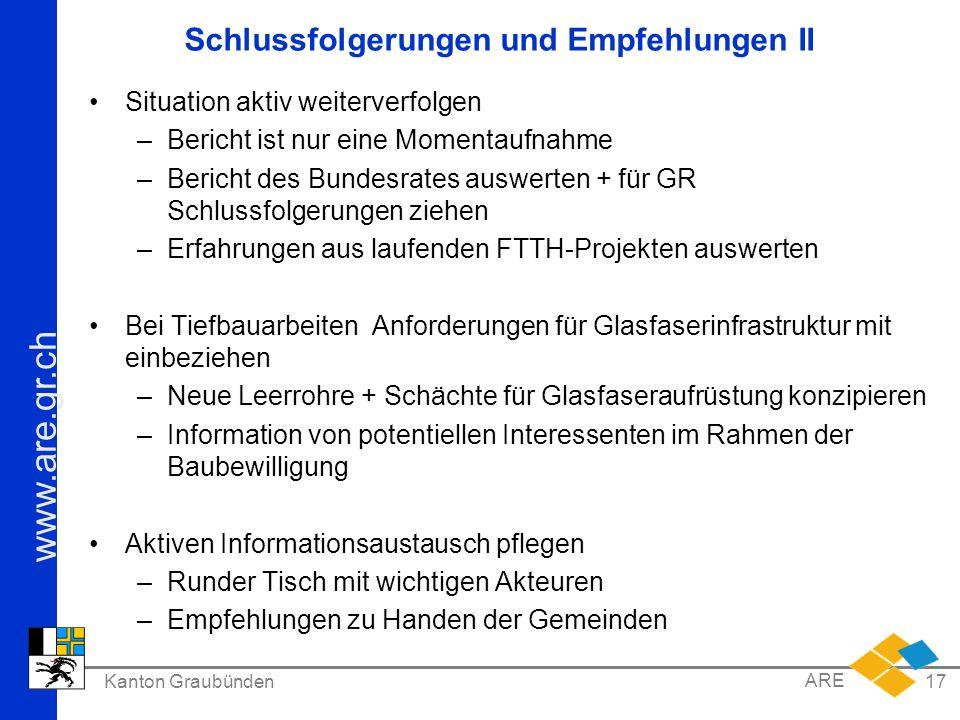 www.are.gr.ch Kanton Graubünden ARE 17 Schlussfolgerungen und Empfehlungen II Situation aktiv weiterverfolgen –Bericht ist nur eine Momentaufnahme –Be