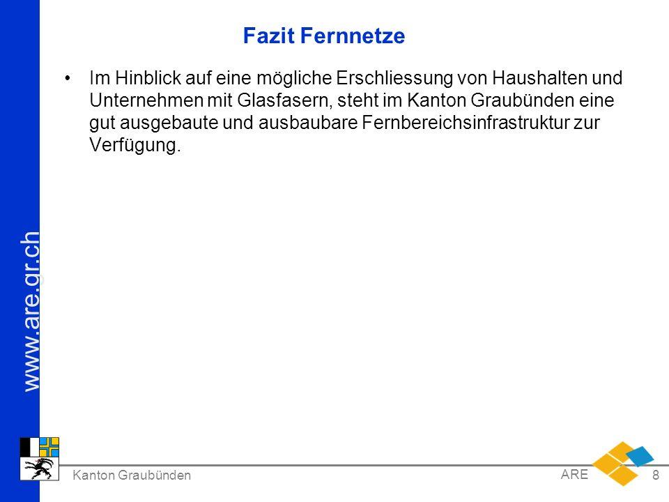 www.are.gr.ch Kanton Graubünden ARE 8 Fazit Fernnetze Im Hinblick auf eine mögliche Erschliessung von Haushalten und Unternehmen mit Glasfasern, steht