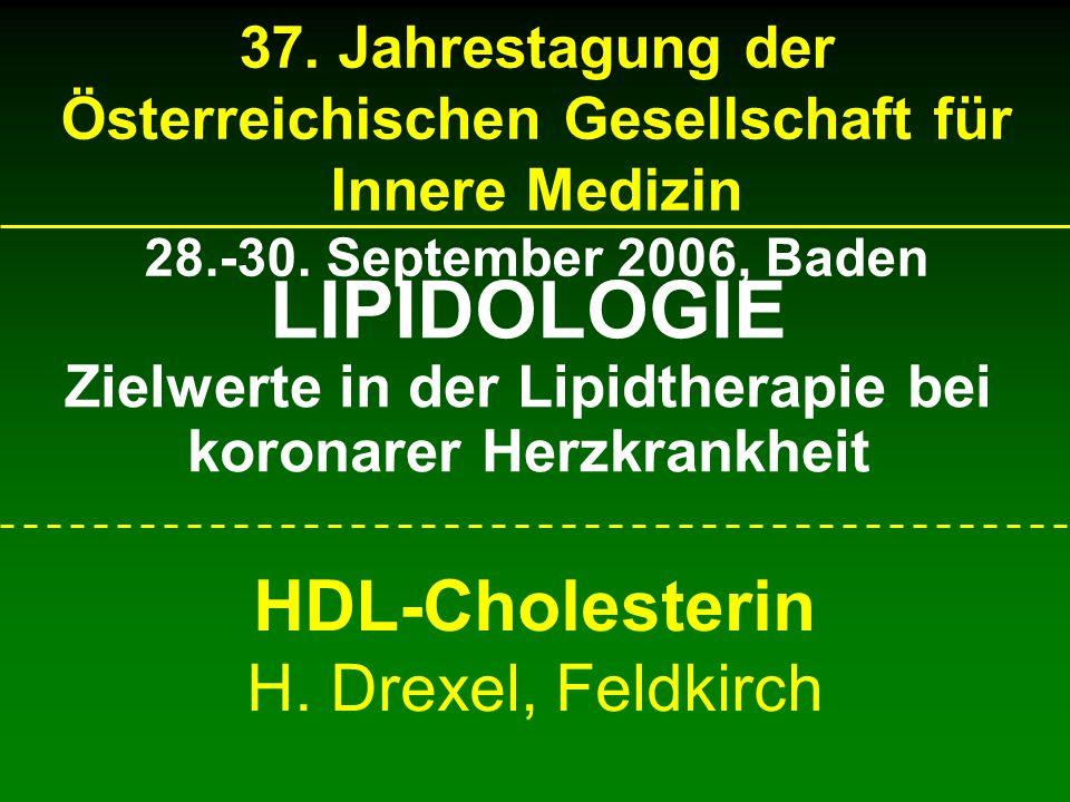 37. Jahrestagung der Österreichischen Gesellschaft für Innere Medizin 28.-30. September 2006, Baden HDL-Cholesterin H. Drexel, Feldkirch LIPIDOLOGIE Z
