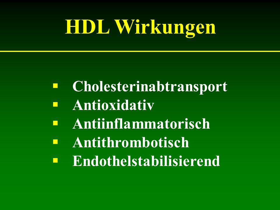 HDL Wirkungen Cholesterinabtransport Antioxidativ Antiinflammatorisch Antithrombotisch Endothelstabilisierend