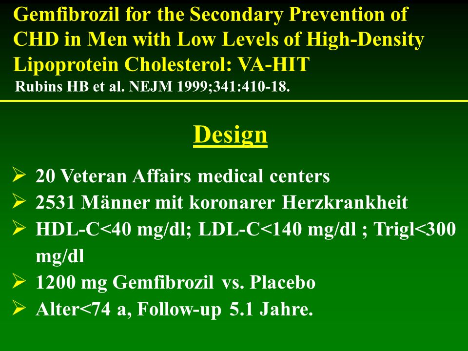 20 Veteran Affairs medical centers 2531 Männer mit koronarer Herzkrankheit HDL-C<40 mg/dl; LDL-C<140 mg/dl ; Trigl<300 mg/dl 1200 mg Gemfibrozil vs.