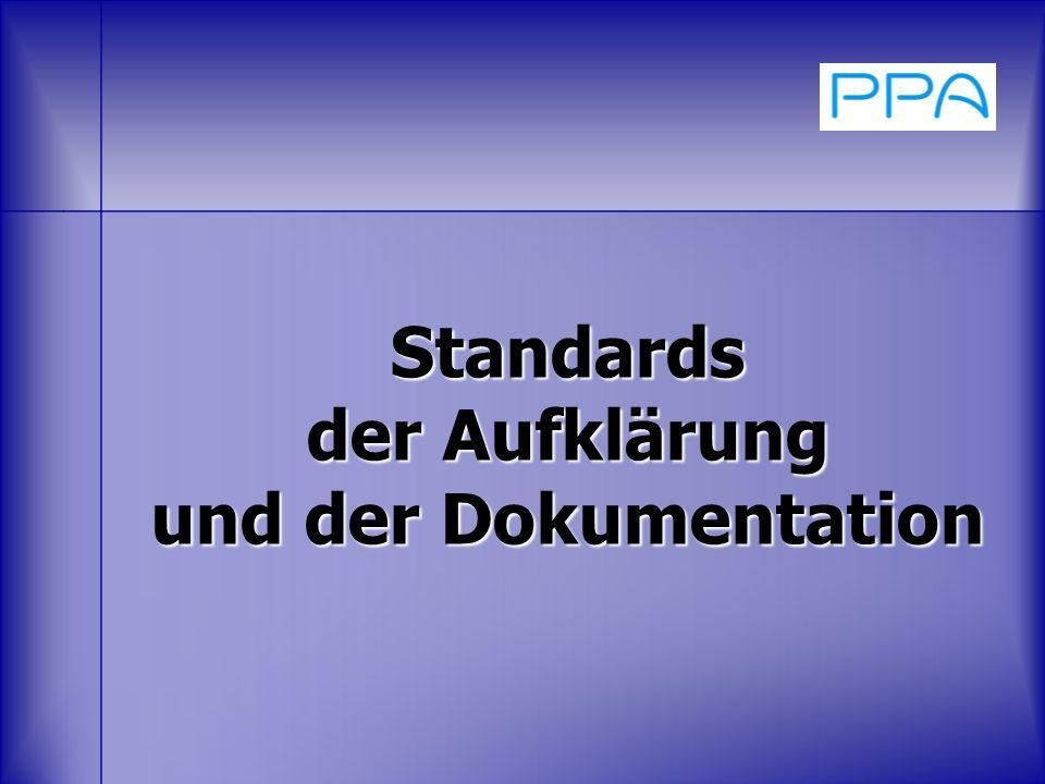 Standards der Aufklärung und der Dokumentation