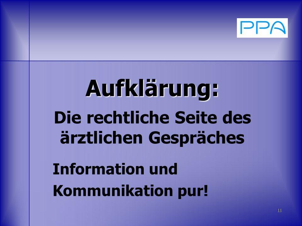 Aufklärung: Aufklärung: Die rechtliche Seite des ärztlichen Gespräches Information und Kommunikation pur! 11