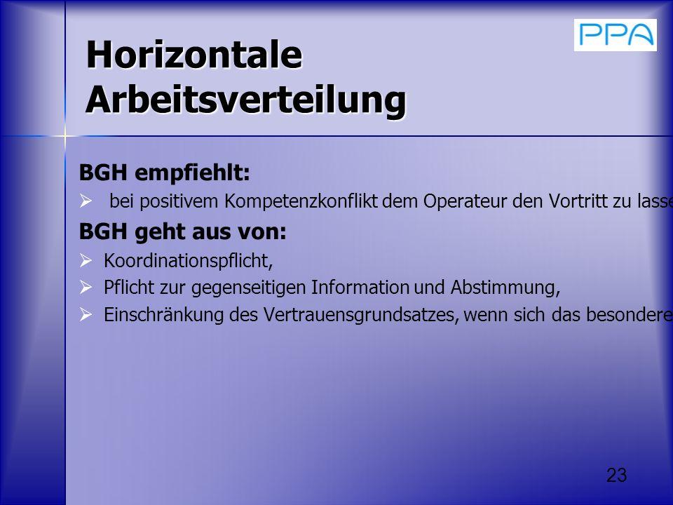 Horizontale Arbeitsverteilung BGH empfiehlt: bei positivem Kompetenzkonflikt dem Operateur den Vortritt zu lassen. BGH geht aus von: Koordinationspfli