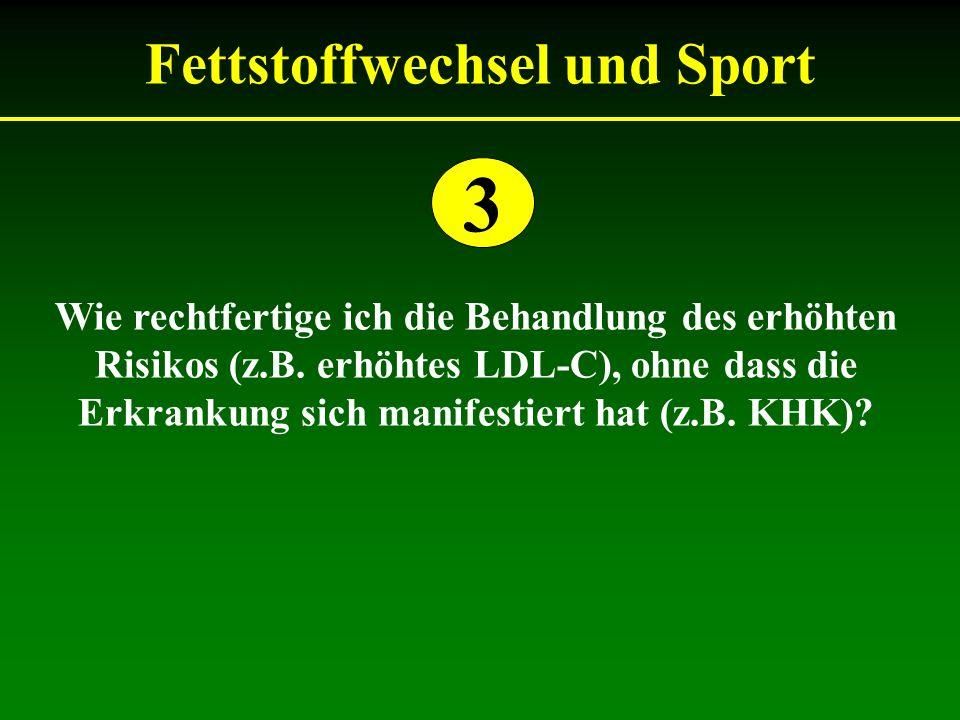 Fettstoffwechsel und Sport Wie rechtfertige ich die Behandlung des erhöhten Risikos (z.B.