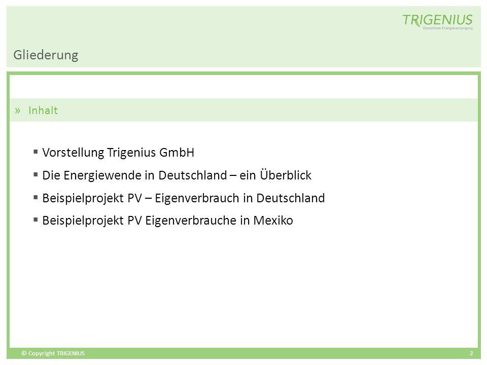 © Copyright TRIGENIUS 2 Gliederung » Inhalt Vorstellung Trigenius GmbH Die Energiewende in Deutschland – ein Überblick Beispielprojekt PV – Eigenverbr