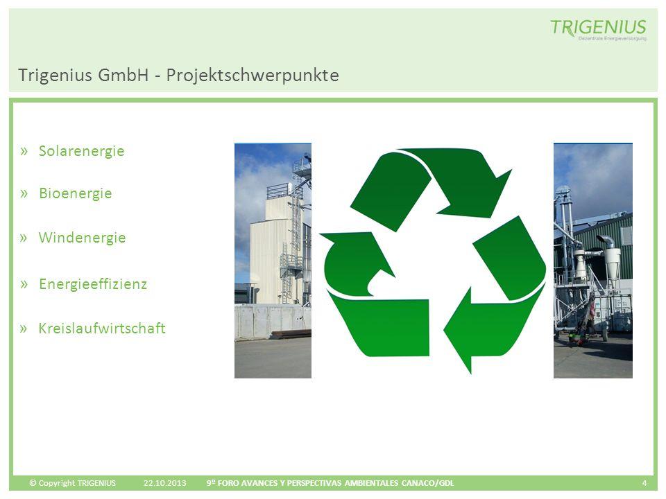 © Copyright TRIGENIUS 22.10.2013 9º FORO AVANCES Y PERSPECTIVAS AMBIENTALES CANACO/GDL 4 » Solarenergie Trigenius GmbH - Projektschwerpunkte » Bioener