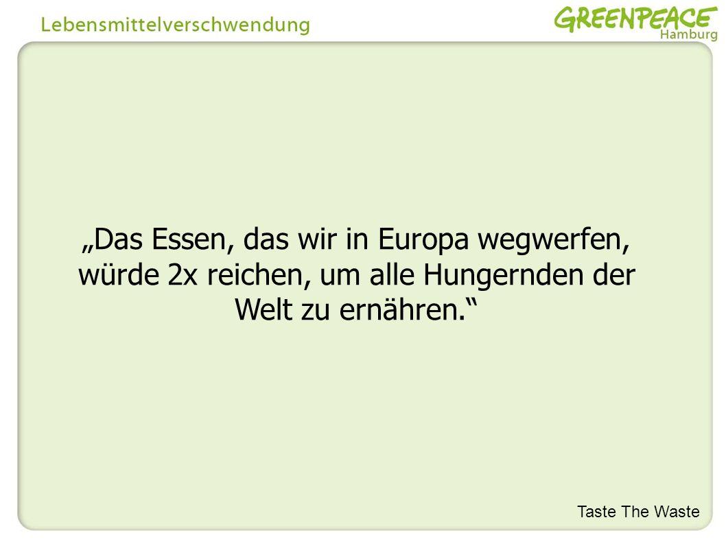 Das Essen, das wir in Europa wegwerfen, würde 2x reichen, um alle Hungernden der Welt zu ernähren. Taste The Waste