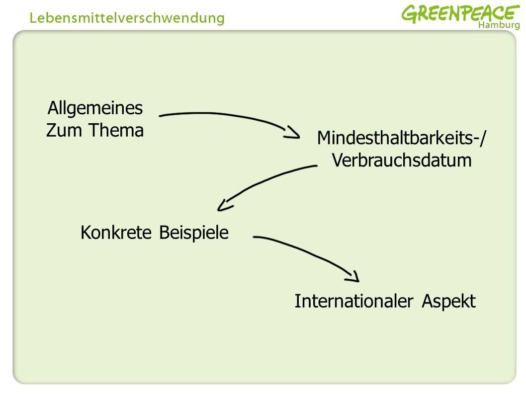 Allgemeines Zum Thema Mindesthaltbarkeits-/ Verbrauchsdatum Konkrete Beispiele Internationaler Aspekt