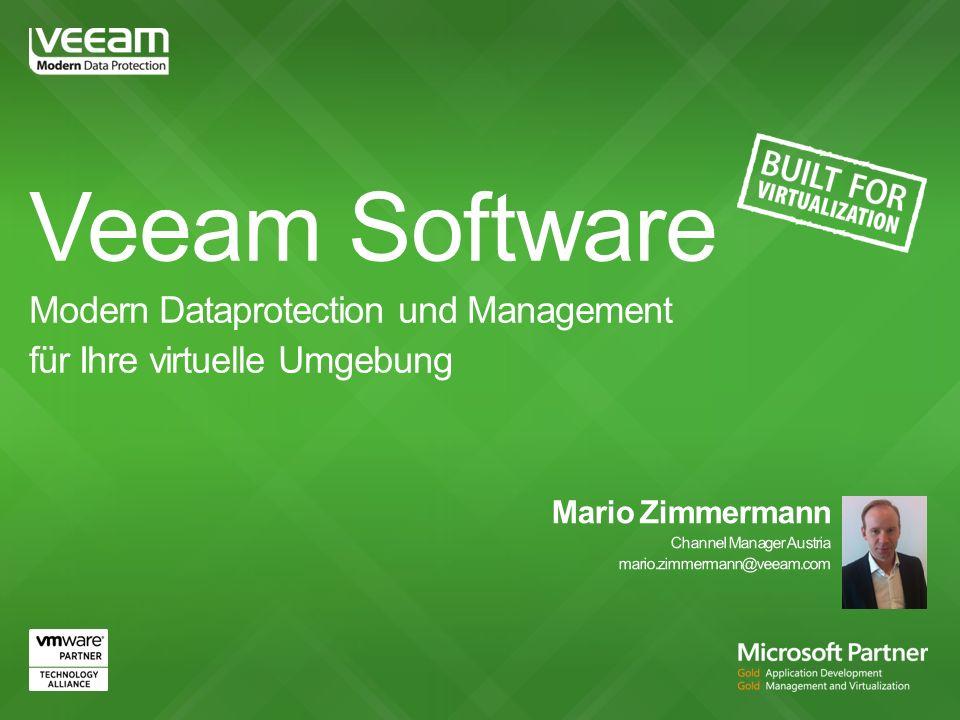 Seit 2006 auf virtuelle Umgebungen spezialisiert 1200+ Mitarbeiter Global Headquarter in der Schweiz 84.000+ Unternehmen setzten beim Backup strategisch auf Veeam (90% Fortune 500) 250.000+ Free Nutzer 4.000.000+ gesicherte VMs Strategische Partnerschaften VMware, Microsoft and HP