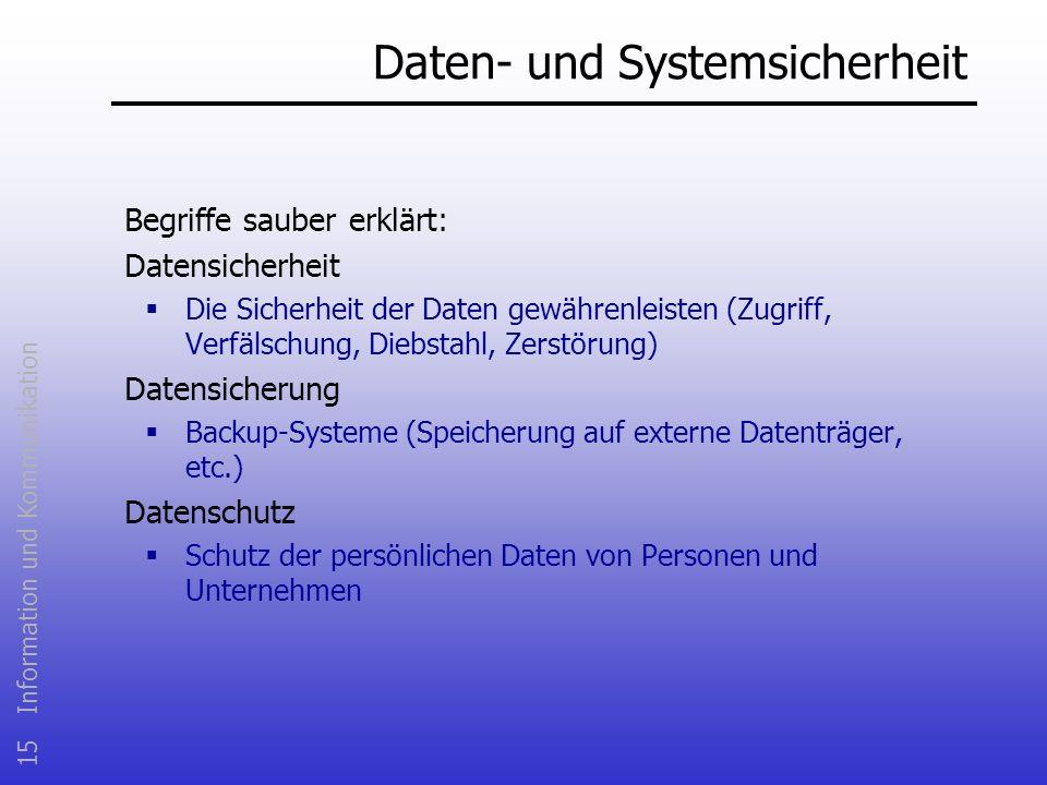 15 Information und Kommunikation Daten- und Systemsicherheit Begriffe sauber erklärt: Datensicherheit Die Sicherheit der Daten gewährenleisten (Zugrif